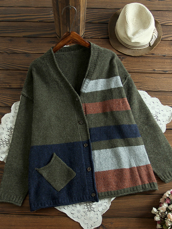 Geometric Color Blocking Knit Wear Casual V Neck Sweaters