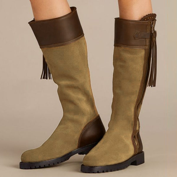 Low Heel Color Block Spring Boots