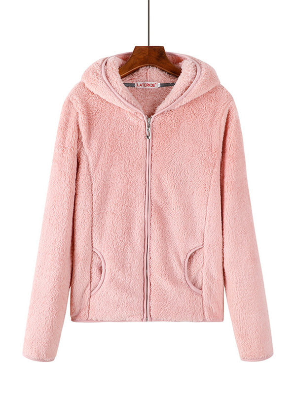 Hoodie Long Sleeve Solid Zipper Teddy Bear Coats