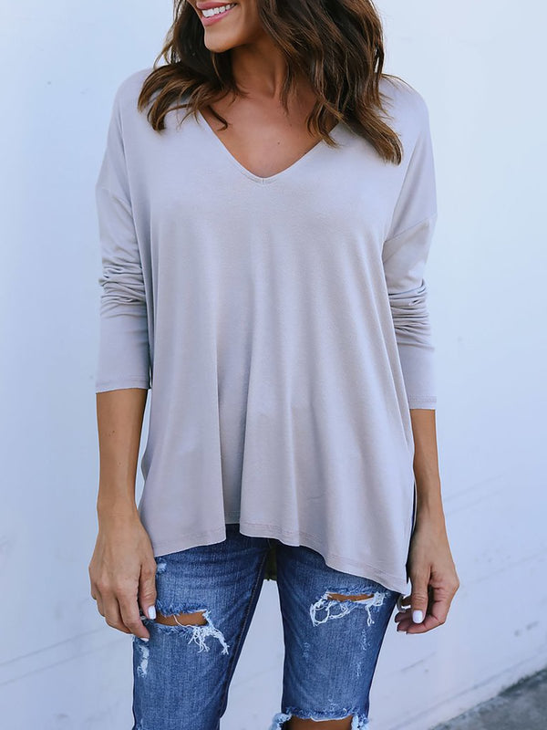 Long Sleeve Solid Casual V Neck T-Shirts