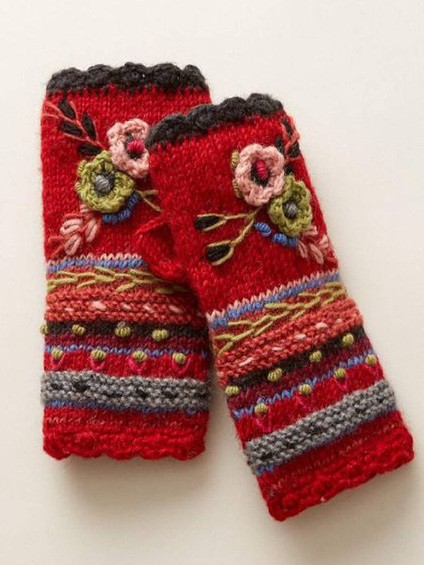 Women Orange&Red Cotton-Blend Knitted Tribal Winter Gloves& Mittens