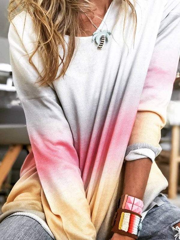 White Long Sleeve Cotton Ombre/tie-Dye Shirts & Tops