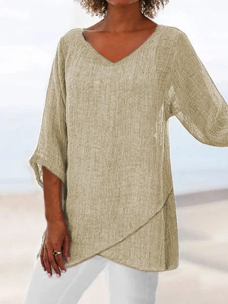 V neck Linen Plain Casual Asymmetric 3/4 Sleeve Plain Tops
