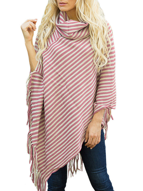 Stripes Fringed Turtleneck  Shawl Sweater