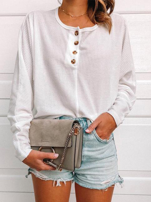 Solid Buttoned Round Neck Sweatershirt