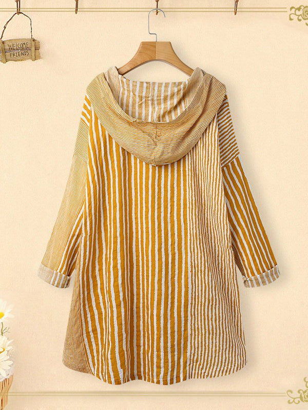 Casual Long Sleeves Striped Hoodie Shirts Blouses
