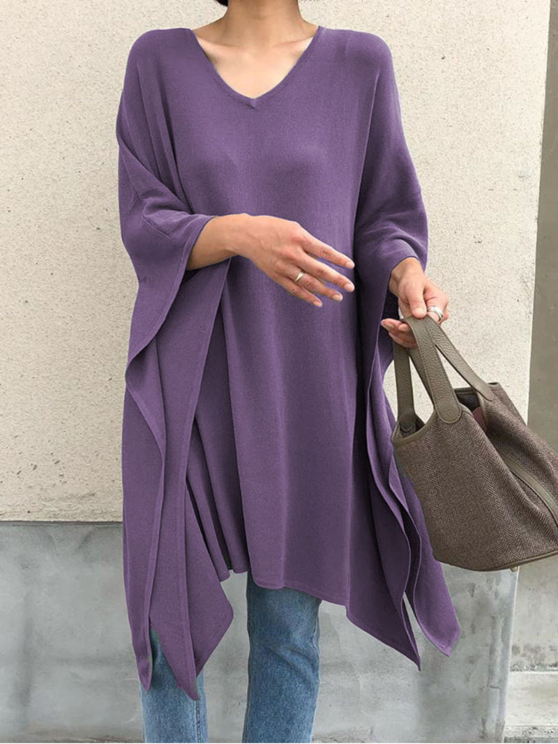 Plus Size Casual Solid  V Neck Long Sleeve Tops