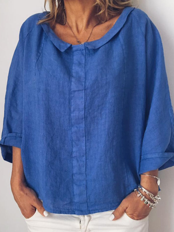 Plus Size Solid Casual Long Sleeve Blouse