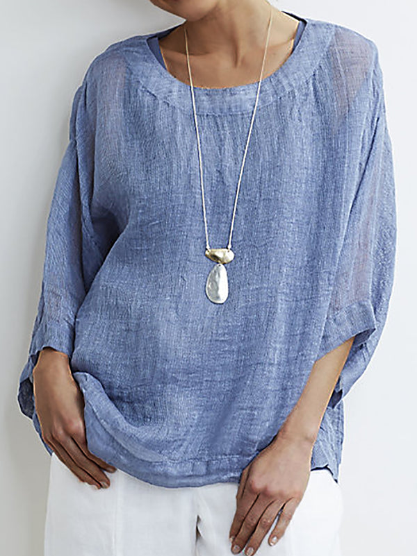 3/4 Sleeve Casual Crew Neck Blouse