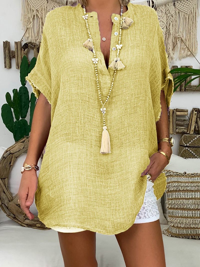 V Neck Solid Short Sleeve Buttoned Down Blouse