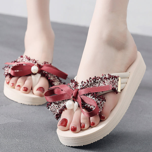 Bowknot Cloth Flat Heel Daily Slippers