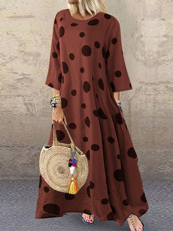 Cotton Round Neck 3/4 Sleeve Dresses