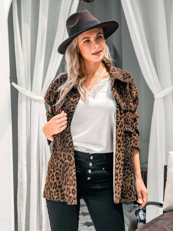 Long Sleeves Leopard Print Shawl Collar Outerwear