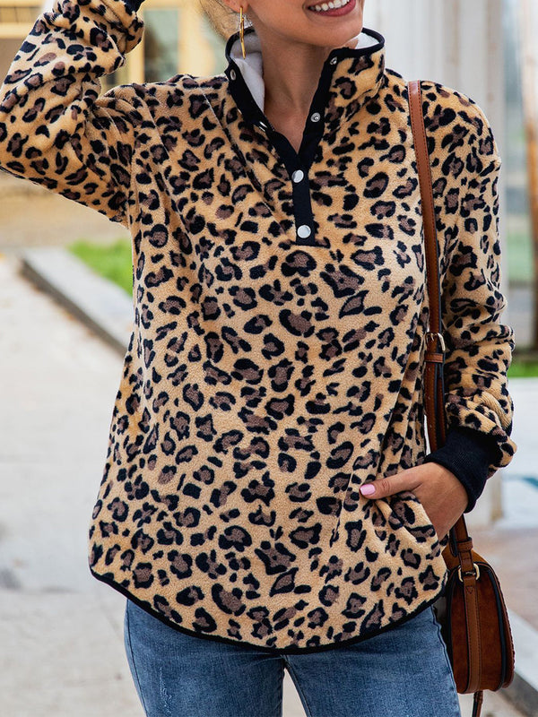 Casual Leopard Print Stand Collar Sweatershirts