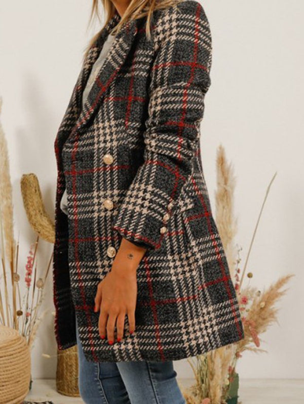 Casual Wool Blend Checkered/plaid Outerwear