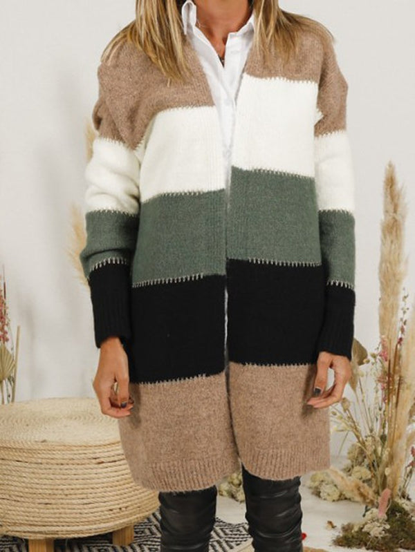 Khaki Cotton-Blend Striped Casual Sweater
