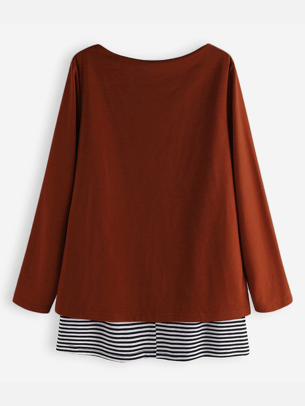 Crew Neck Long Sleeve Shirts Blouses