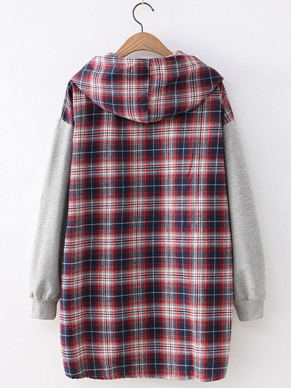 Checkered/plaid Casual Hoodie Shirts Blouses