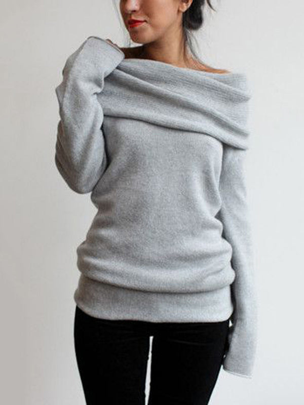 Off Shoulder Long Sleeve Cotton-Blend Sweater