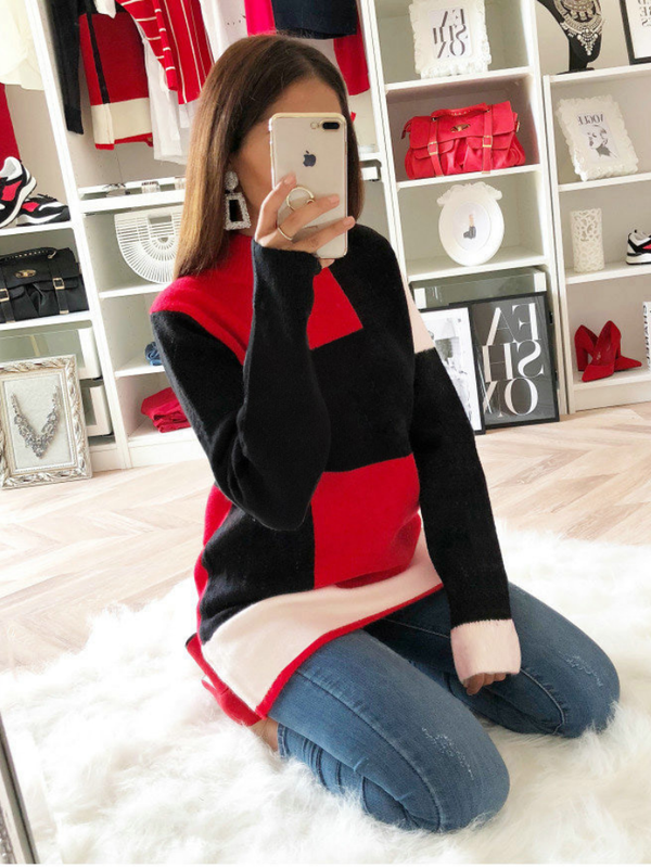 Red-Black Round Neck Shift Long Sleeve Cotton-Blend Sweater