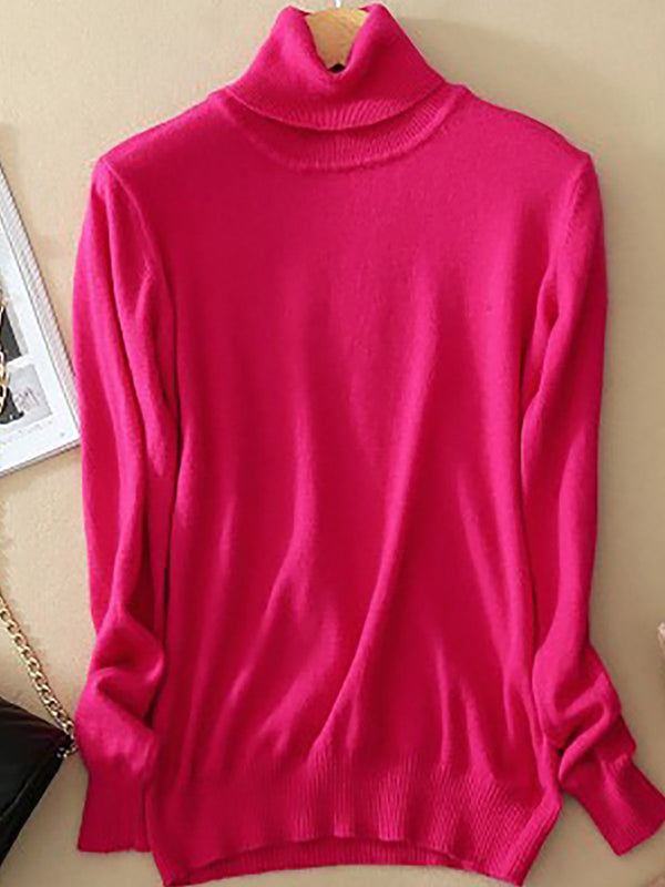 Turtleneck Long Sleeve Wool Blend Sweaters