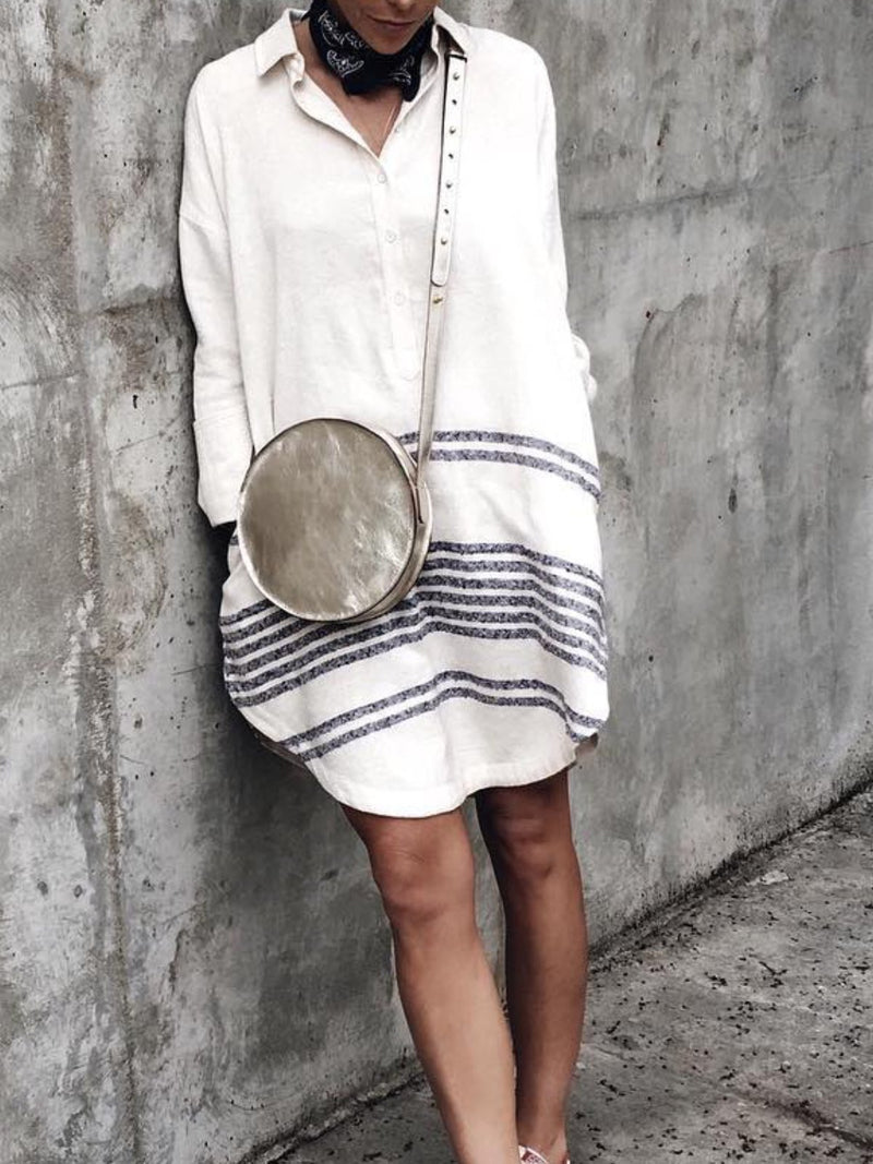 Casual Cotton Striped V Neck Dresses