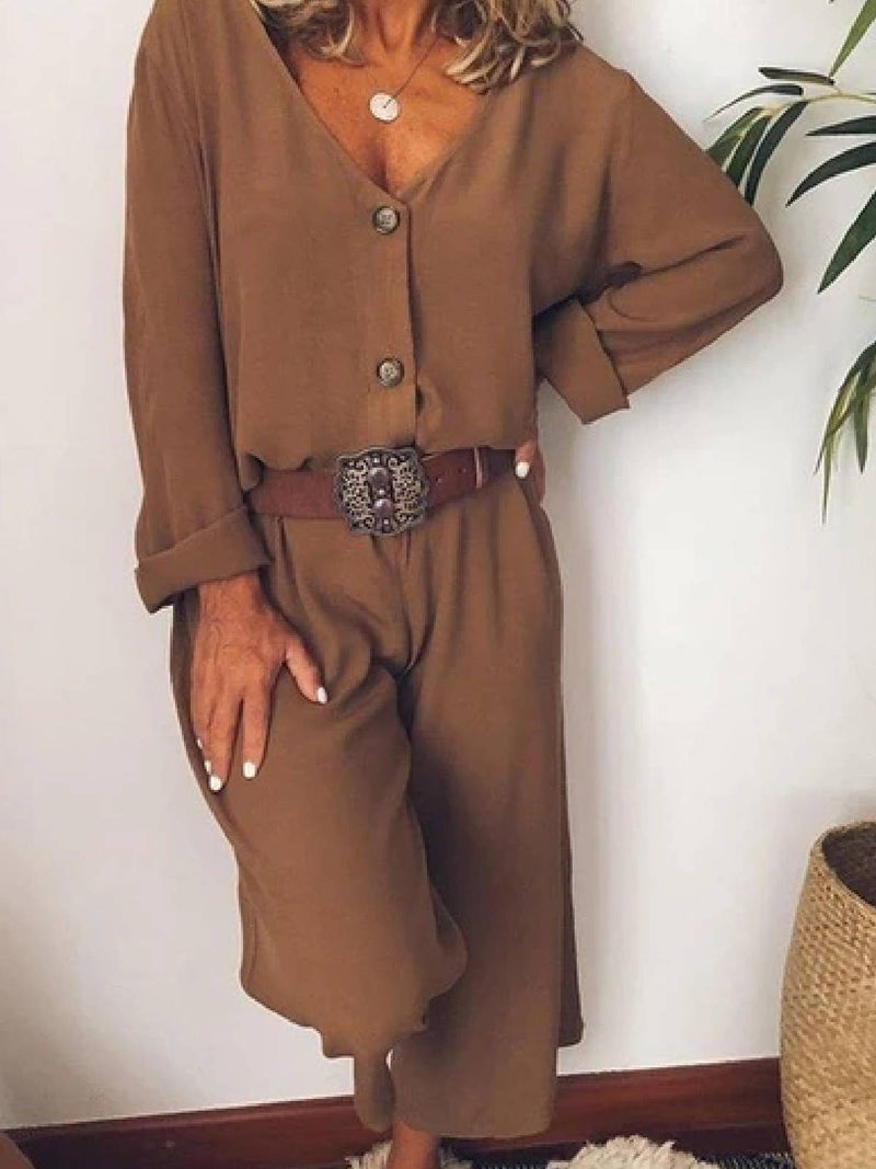 Cotton-Blend Solid Casual Jumpsuits
