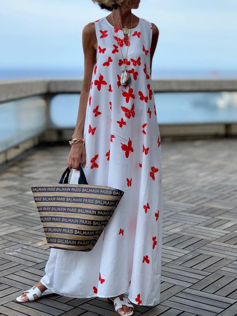 Casual Crew Neck Sleeveless Printed Maxi Dresses