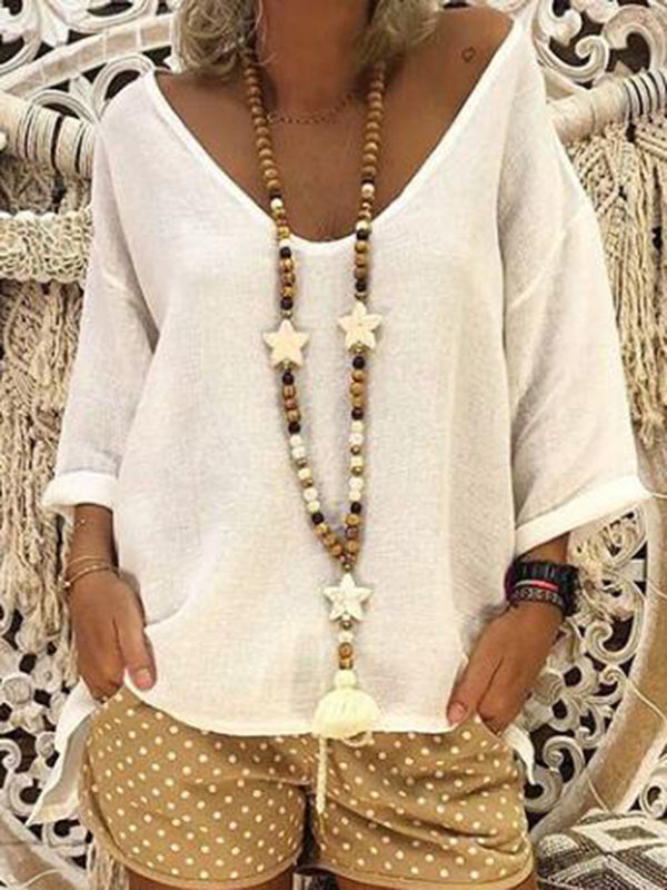 V Neck Casual Solid Blouse