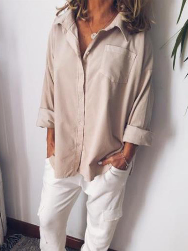 Casual Shirt Collar Long Sleeve Solid Blouse