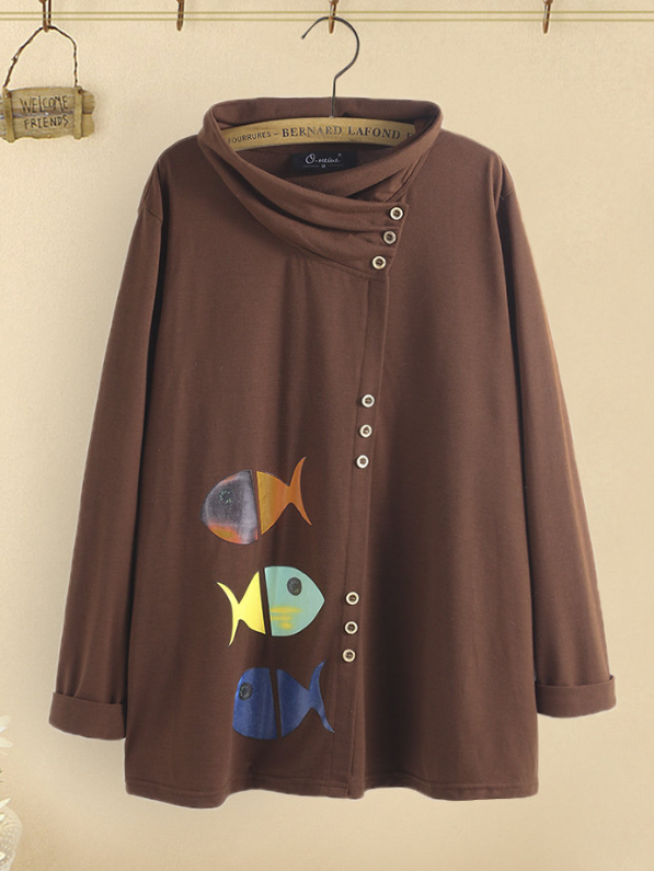 Brown Cotton Vintage Sweatshirt
