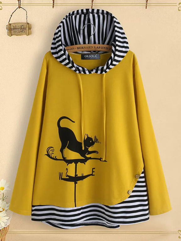 Yellow Casual Cotton Sweatshirt