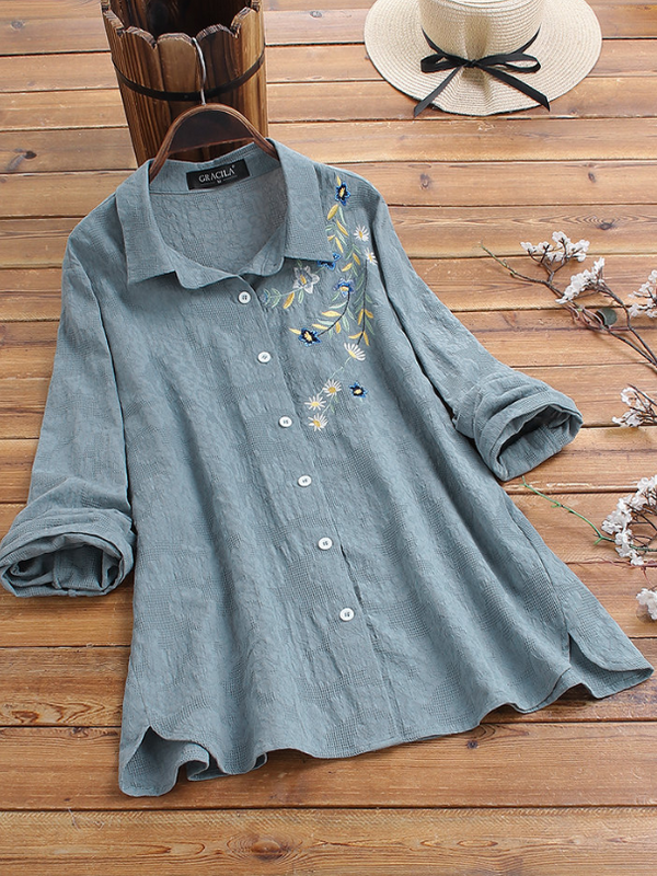 Blue Cotton Sweet Shirts & Tops