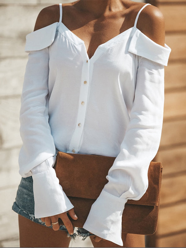 Spaghetti Buttoned Cold Shoulder T-Shirts