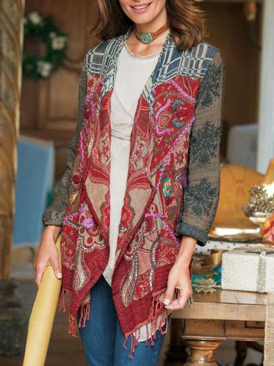 Long Sleeve Printed Shawl Collar Casual Outerwear