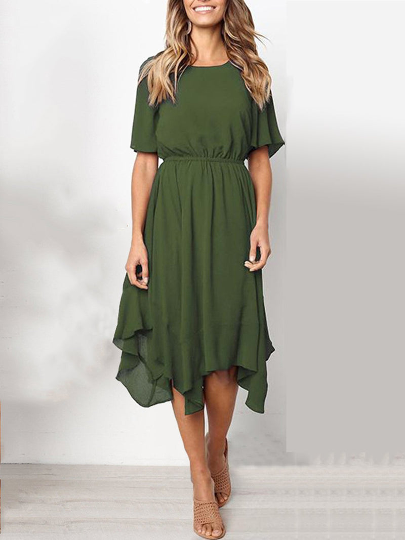 Elegant Crew Neck Short Sleeve Asymmetric Dresses