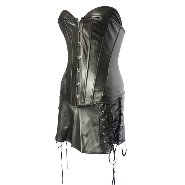 Sexy Off Shoulder Black PU Leather Corset Skirt Set