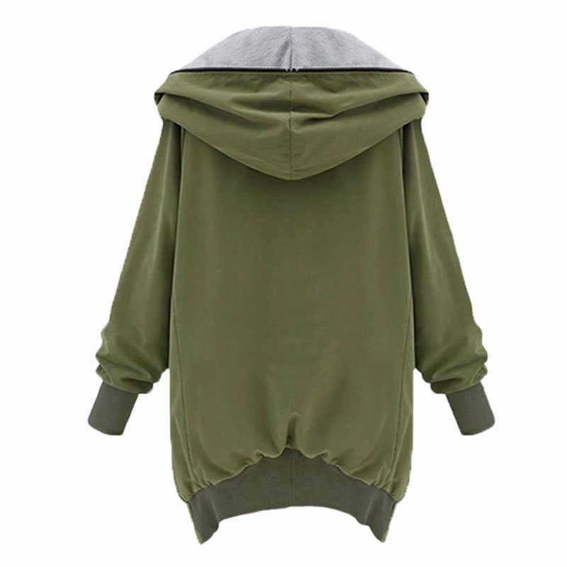 Long Sleeve Cotton Solid Hoodie Coat