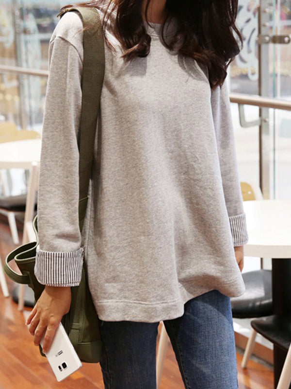 Light Gray Crew Neck Long Sleeve Cotton Blouses&shirts