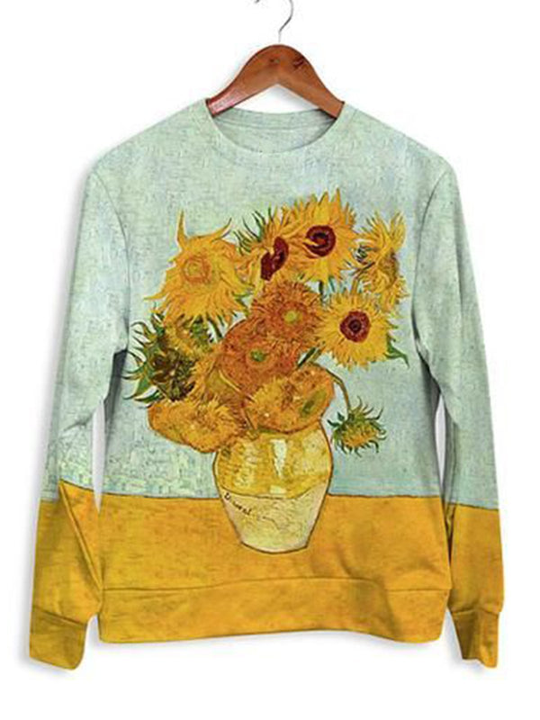 Printed casual vintage sweater top