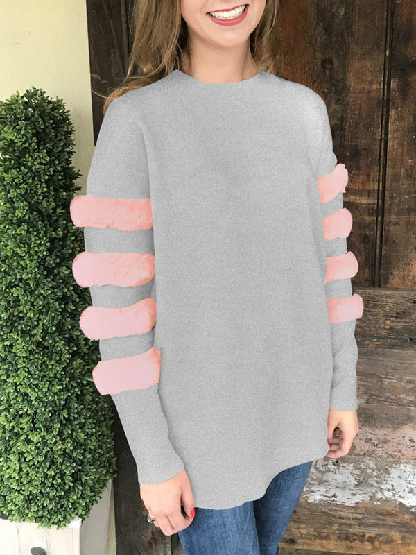 Long Sleeve Solid Paneled Crew Neck Sweatshirts
