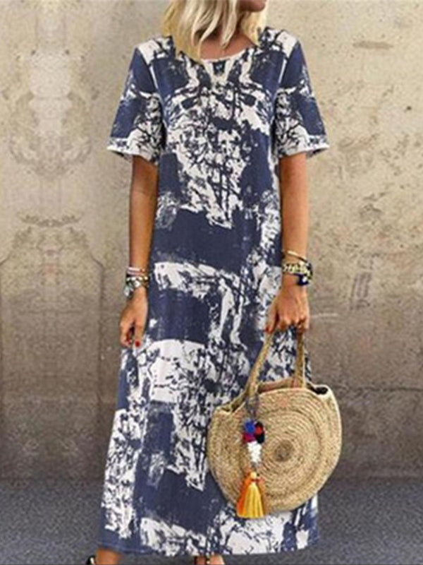 Holiday Abstract Printed Maxi Dress
