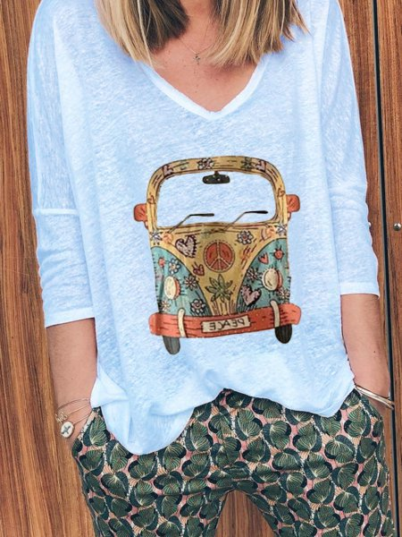 Printed V Neck 3/4 Sleeve Casual Shirts & Tops