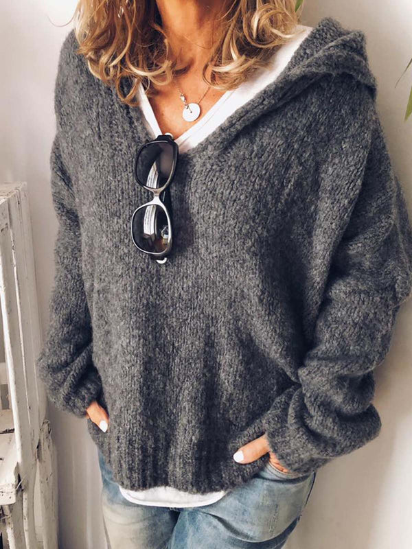 V Neck Long Sleeve Knitted Casual Hoodie Sweaters