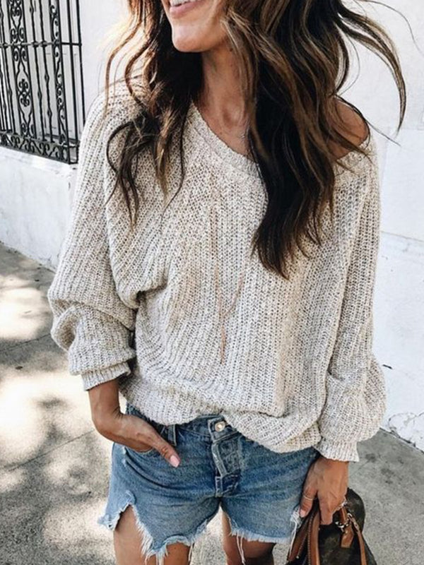 Off Shoulder Solid Knitted Long Sleeve Sweater
