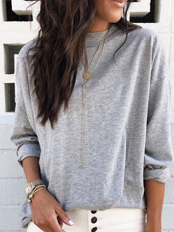 Gray Cotton Plain Long Sleeve Crew Neck Shirts & Tops