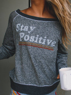 Gray Letter Crew Neck Casual Shirts & Tops