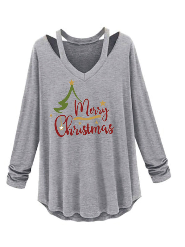 Christmas Solid V Neck Long Sleeve