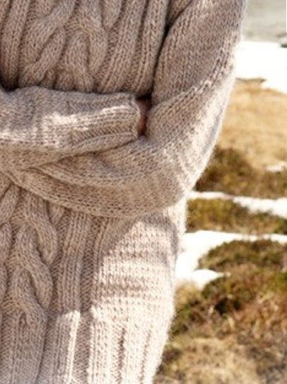 Beige Knitted Sweet Casual Sweater