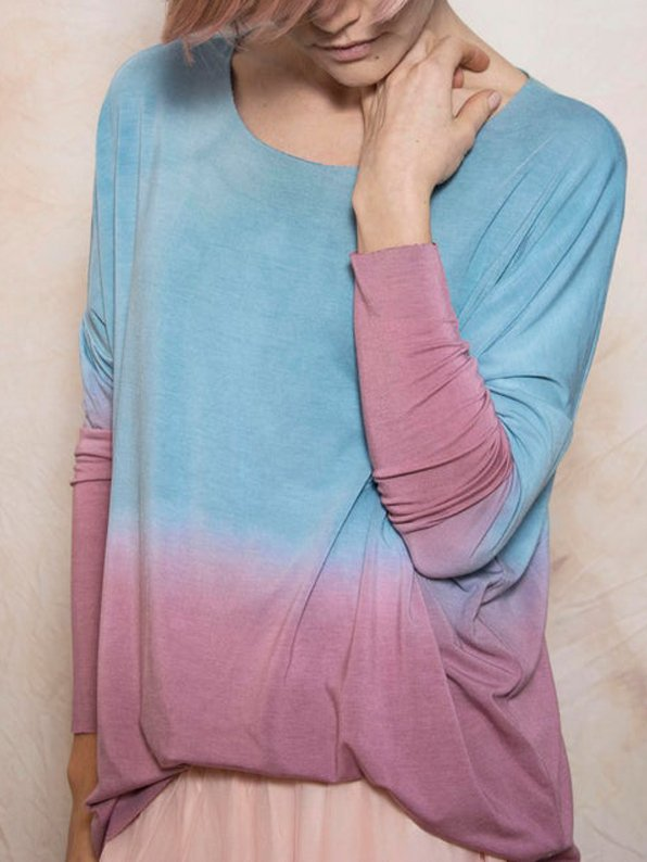 Casual Ombre/tie-Dye Crew Neck Shirts Blouses